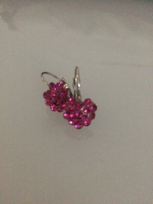 Süße Glitzerohrringe, pink in Herzchenform