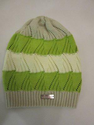 Chapeau en tricot blanc-vert pâle