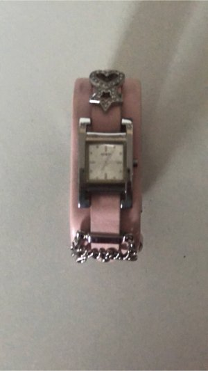 Guess Watch With Leather Strap rose-gold-coloured-silver-colored