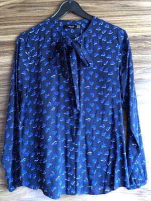 Hallhuber Blusa con lazo azul aciano-azul oscuro