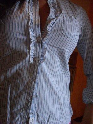 süße hellblau-weiß gestreifte Bluse