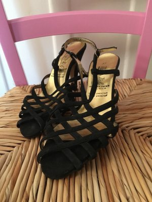 Strapped High-Heeled Sandals black synthetic