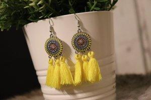 Süße Hippie Ohrringe boho gelb peace flower power Fransen Silber