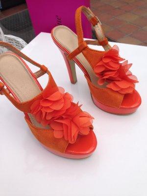 High-Heeled Sandals orange-neon orange