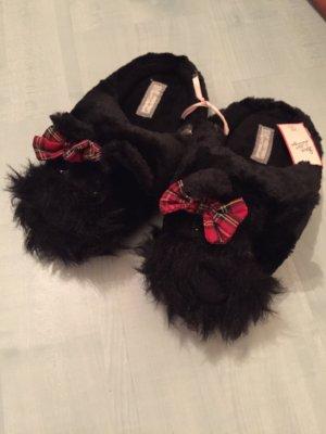 Zapatillas para casa negro-rojo