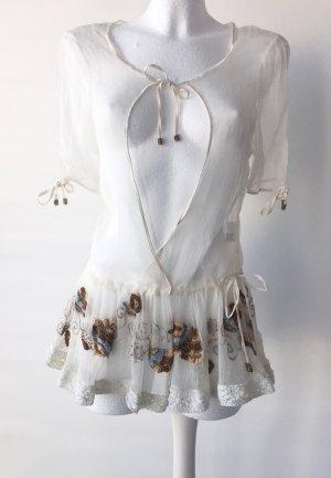 Tunique-blouse blanc-bronze