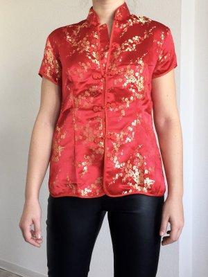 Süße Kimono Bluse mit Blumenmuster in gold auf rot