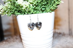 süße kleine Herz Ohrringe hänger kristall Optik like swarovski