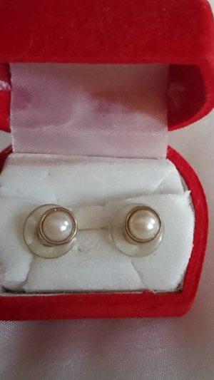Boucles d'oreilles en perles argenté-crème
