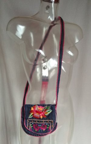 Crossbody bag dark red-dark blue cotton