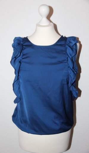 Süße kobaltblaue Bluse mit Volants NEU von Zara Größe S-L
