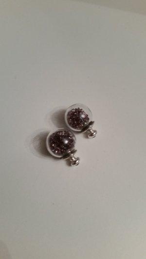 Süße Kugel-Ohrringe mit Glitzersteinen