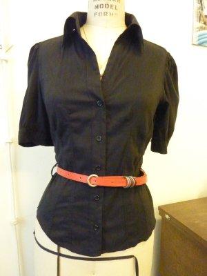 Süße Kurzarmbluse schwarz mit kleine angereihten Ärmel H&M