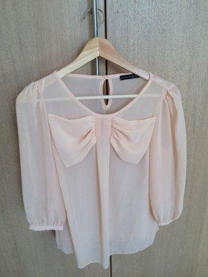 süße nude Bluse von Primark mit großer Schleife