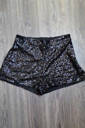 H&M Pantalon court noir-argenté