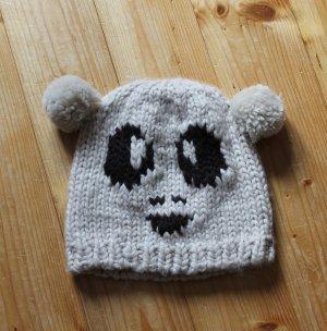 Süße Panda/Bär Strickmütze mit Bommel-Ohren, beige, schwarz