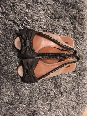 Zara Tacones con punta abierta negro-marrón grisáceo