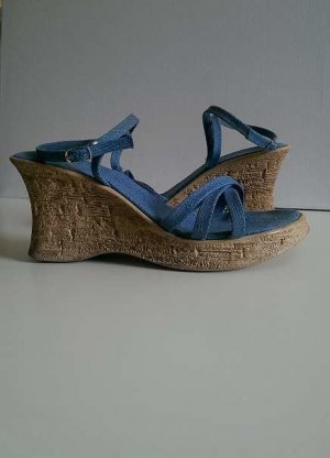 Platform High-Heeled Sandal steel blue cotton