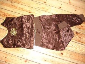 Zara Pantalon en jersey brun foncé polyester