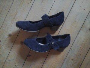 süsse Riemchenschuhe Pumps dunkelblau echt leder 5th Avenue Gr. 39 mit Blume Neu