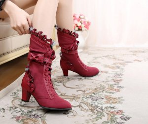 Lace-up Booties multicolored suede