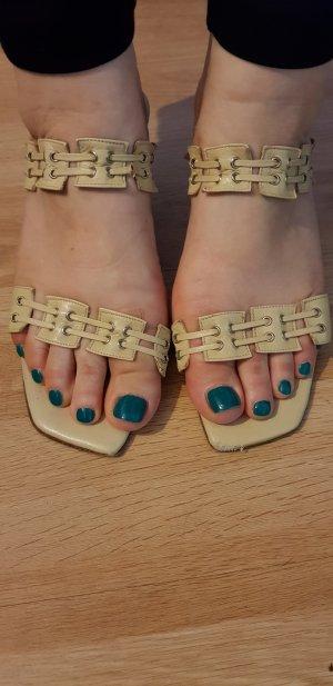Ana Bonilla High-Heeled Sandals oatmeal-pale yellow