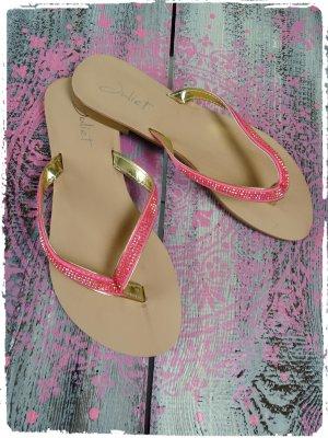 Flip-Flop Sandals pink imitation leather