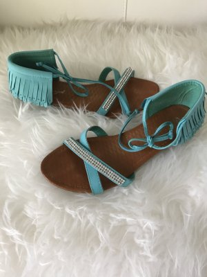 Sandalo con cinturino azzurro Finta pelle