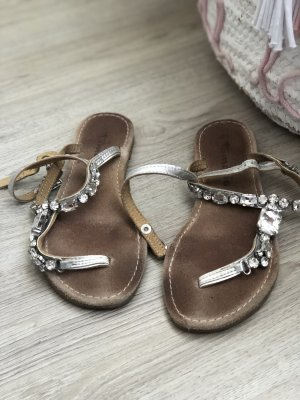Tamaris High-Heeled Toe-Post Sandals silver-colored