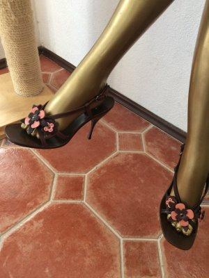 Miu Miu Strapped High-Heeled Sandals dark brown-orange