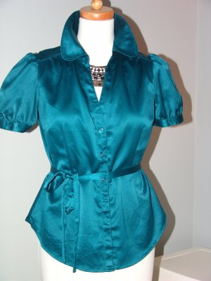 °°°Süsse Satin Bluse, H&M, Gr.40, Petrol,blau, Madonna-Kollektion°°°