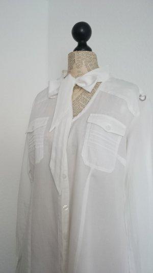 Mandarin Tie-neck Blouse white cotton
