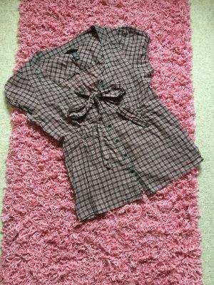 H&M Tie-neck Blouse purple-dark blue cotton