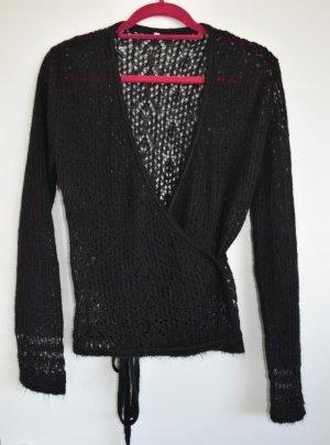 Cache-cœur en tricot noir laine