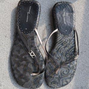 Sandalo infradito con tacco alto nero-argento Finta pelle