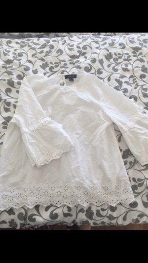 Primark Ruche blouse wit-lichtblauw