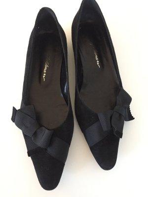 Süße Spitze Ballerinas in schwarz Veloursleder mit Schleife 38 Beverly Fieldman