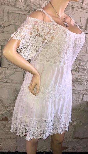 Süsse Spitzen Kleid Tunika Bluse in gr 40 Farbe Weiss Neu