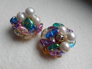 Pendientes de clip multicolor Material sintético