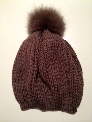 Süße strick Mütze mit Pelzbommel