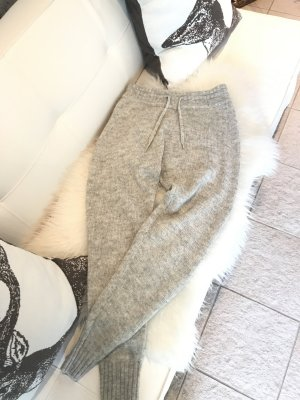 H&M Woolen Trousers silver-colored polyamide