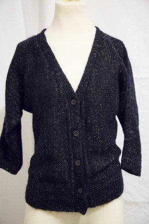 süße Strickjacke, blau, gold, Pullover, Blogger, Zara, H&M Pulli Wolle Winter Herbst