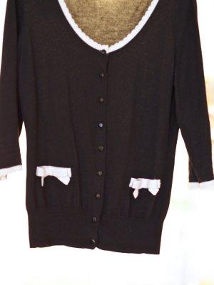 H&M Gilet tricoté noir-rose clair coton