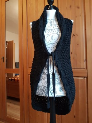 Yaya Long Knitted Vest black
