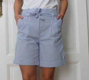 Süße taillenhohe Sommershorts Hose von Stefanel im maritimen Stil blau weiß Gr. 36