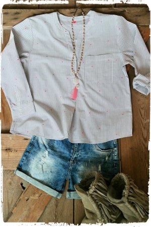 Tunique-blouse gris clair-rose
