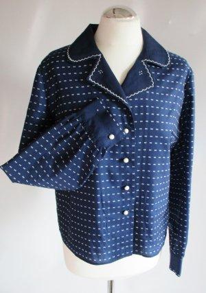 Süße Vintage Bluse Dunkelblau Blau Weiß Punkte Dots Größe 38 M Bubikragen Kugelknöpfe Retro Rockabilly