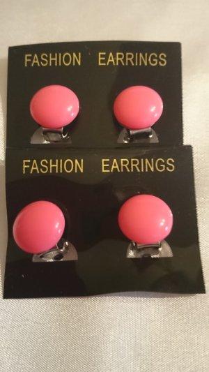 Pendientes de clip rosa