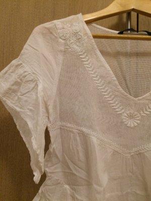 süße weiße Bluse von Zara Hippiestyle chic