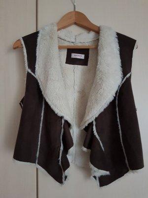 Orsay Gilet en fausse fourrure brun foncé-blanc cassé polyester